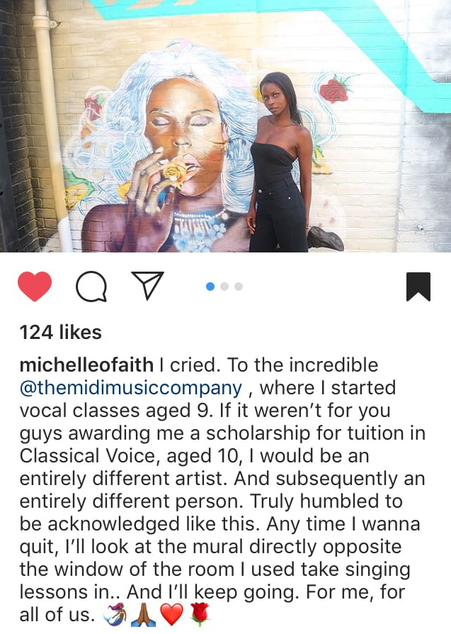 Michelle O'Faith's reaction on Instagram to seeing her portrait